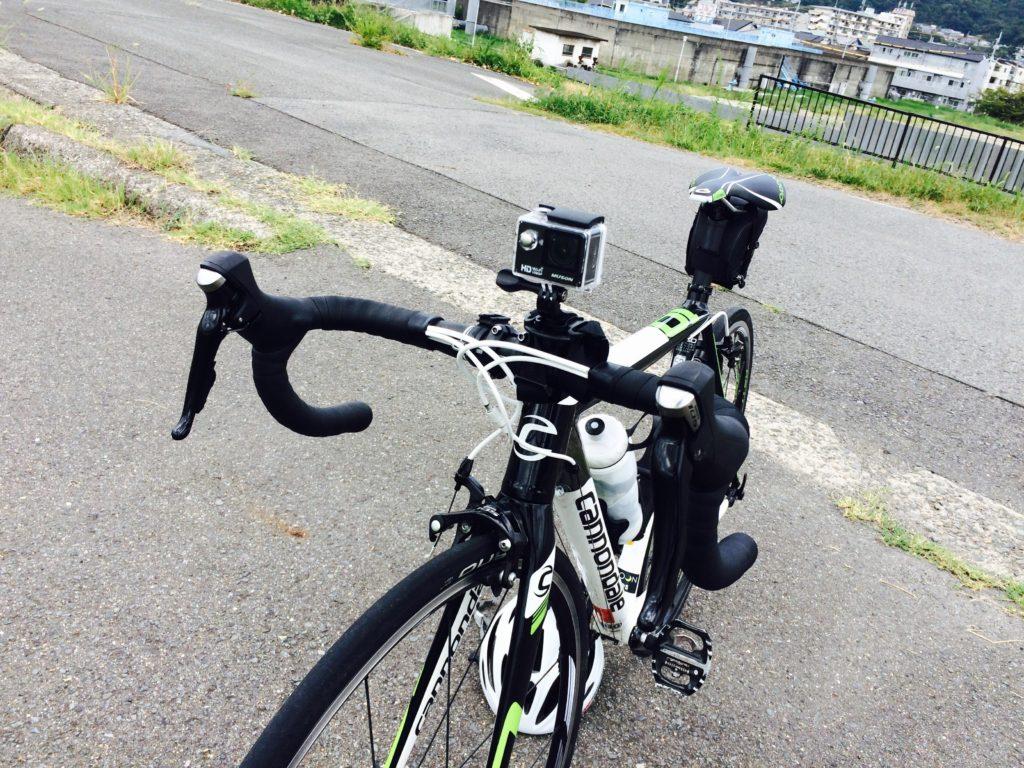 ロードバイクとアクションカメラと紀ノ川サイクリングロード 六十谷入口